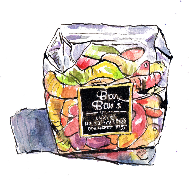Confectionery illustration watercolour and ink