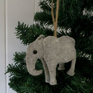 Wool felt elephant Christmas ornament. Handmade.