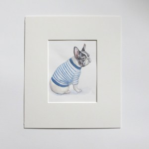French bulldog watercolour painting