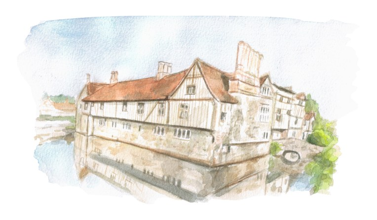 Ightham Mote painting buildings illustration