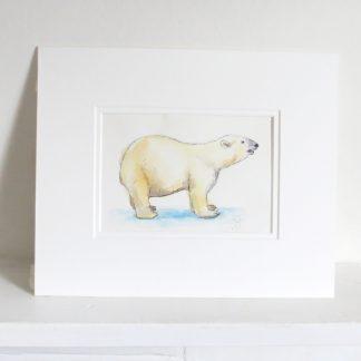 Polar Bear Watercolour Artwork. Original polar bear wall art.