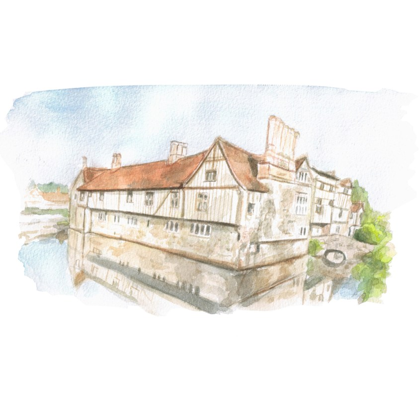 Watercolour painting of Ightham Mote, Kent