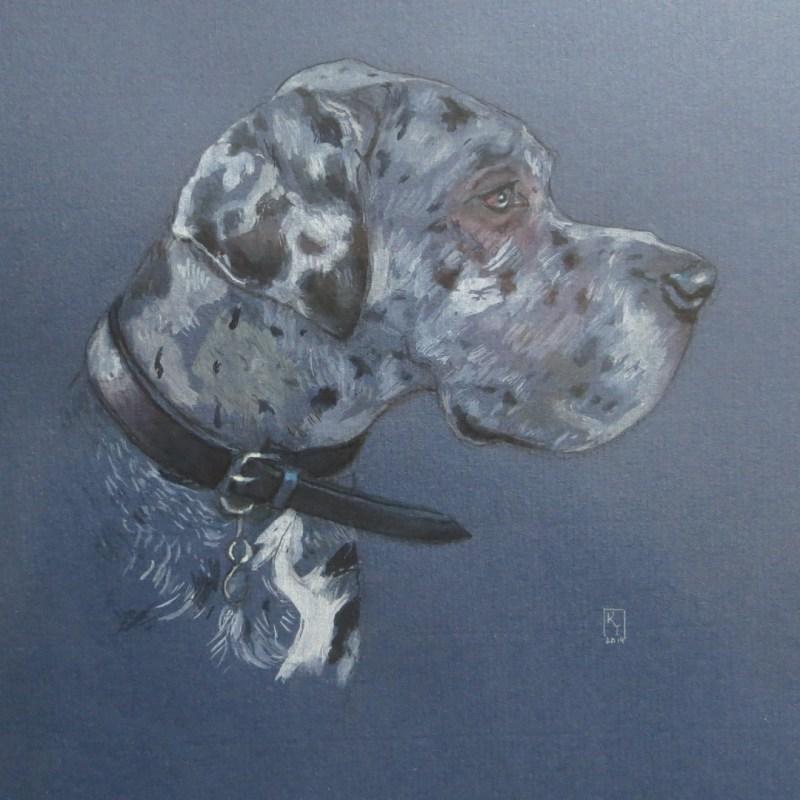 Great Dane watercolour portrait