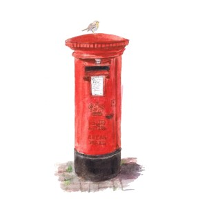 Red British post box with Robin