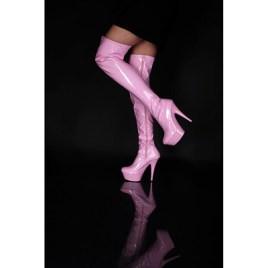 Lack Plateau Overknee High Heels pink