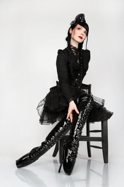 Lack Overknee Ballett High Heels schwarz von Kassiopeya