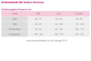 Größentabelle Me Seduce Dessous - Clubwear, Chemises, Negligees, Babydolls, BH-Sets, Straps-Sets, Bodys für Frauen