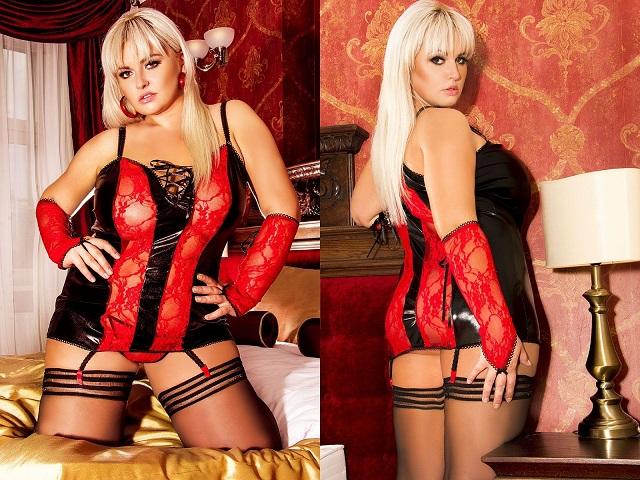 schwarz/rote Corsage S/3025 Naughty Roxy von Andalea Dessous