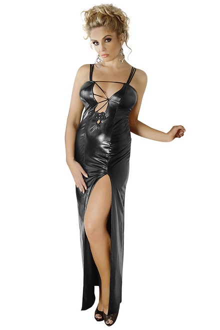 langes schwarzes Wetlook-Kleid M/1072 von Andalea
