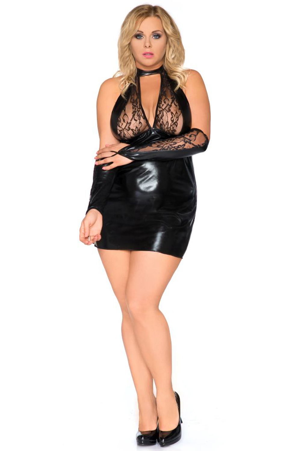 SB/1001 schwarzes Wetlook Chemise Sexy Base Kollektion by Andalea Dessous