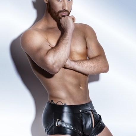 H050 schwarze Powerwetlook Shorts von Noir Handmade EAN:5902175349814
