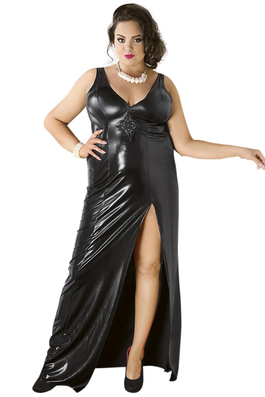 C/4005 Langes schwarzes Wetlook-Kleid von Andalea Dessous ...