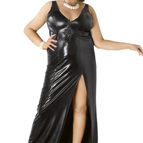 C/4005 Langes schwarzes Wetlook-Kleid von Andalea Dessous 5901885305233,5901885305240,5901885305257,5901885305264,5901885305226,