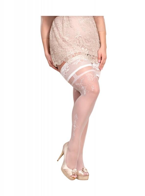 BS Art. 361 halterlose Strümpfe weiß-silber 20DEN Ballerina Size Plus