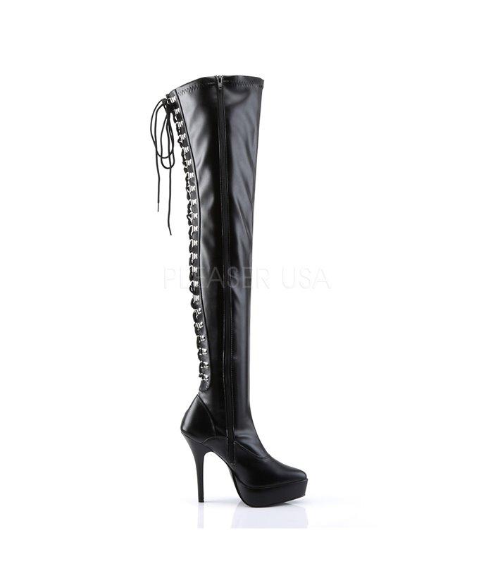Devious Indulge-3063 – Sexy Fetisch Plateau High Heels Overknee Stiefel schwarz – IND3063/B/PU