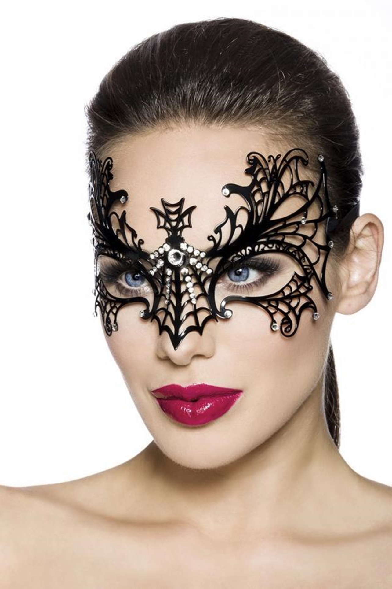 13576 Venezianische Gesichtsmaske / Metallmaske mit Strasssteinen