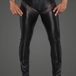 H059 Powerwetlook-Longpants mit Einsätzen und Taschen aus 3D-Netz von Noir Handmade Rebellious Collection