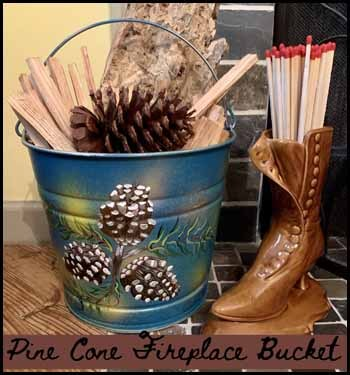 Pine cone painted bucket Blogger's Pit Stop #244