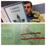 Jonathan reading Flannery O'Connor while waiting at the border