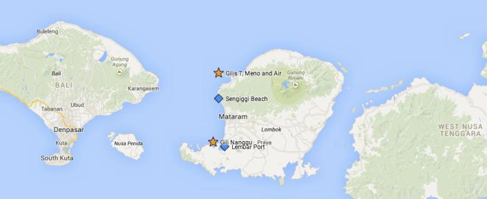 Lombok map | Gili Nanggu location