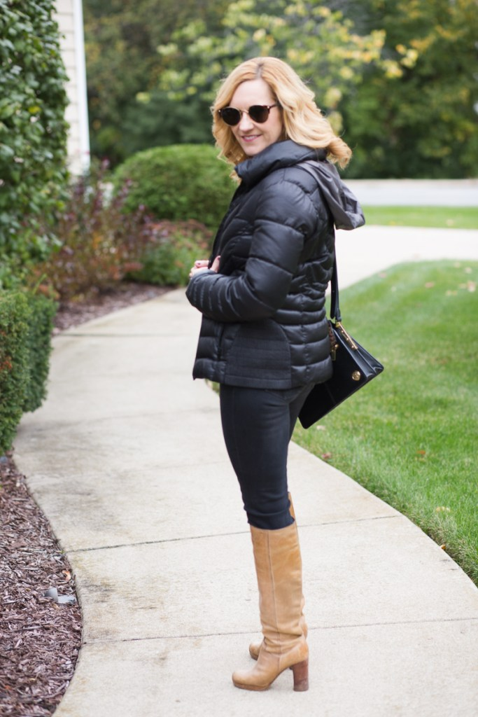 Puffer Coat Style featuring a quilted puffer coat in black with tan knee boots