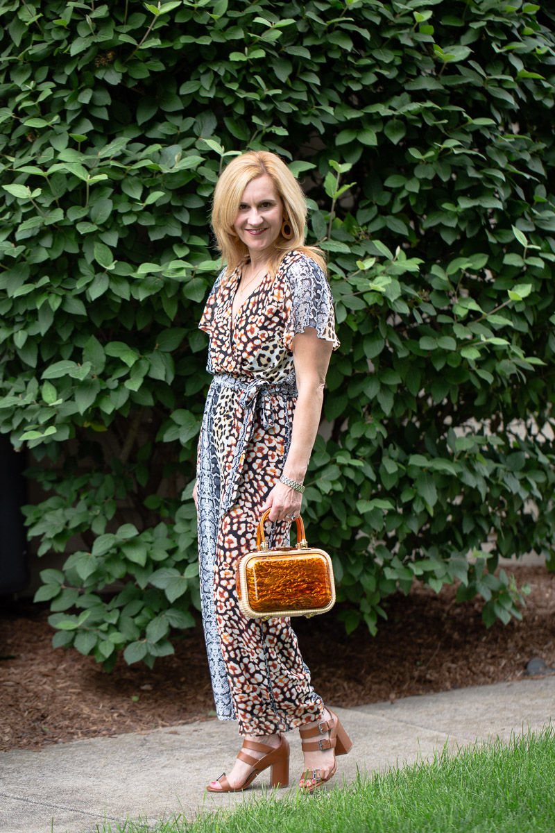 Wearing a animal print sheer culotte jumpsuit from Express.
