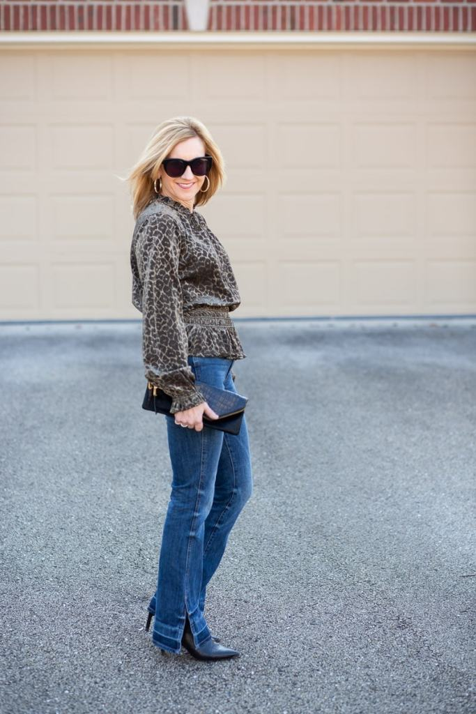 Melina Shimmer Leopard Top paired with DL 1961 Bridget High-Rise Flare Jeans