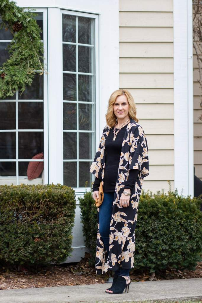 Pairing a robe from the Winter Box of Style with jeans and heels.