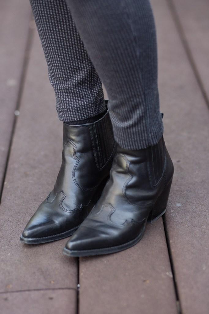 Sam Edelman Winona Western Booties in Black Leather