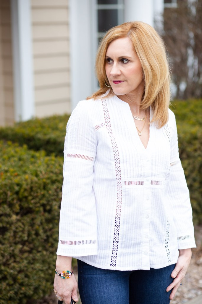 Pin Tuck Flared Sleeve Top with Trim by Liverpool Los Angeles