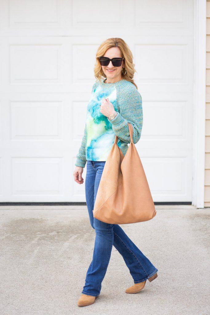 Watercolor Tie-Dyed Sweater by Kathrine Eldridge, Wardrobe Stylist