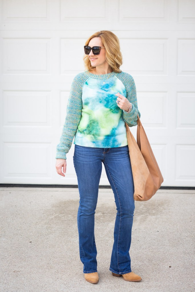 A casual chic look featuring a spring sweater and bootcut jeans.