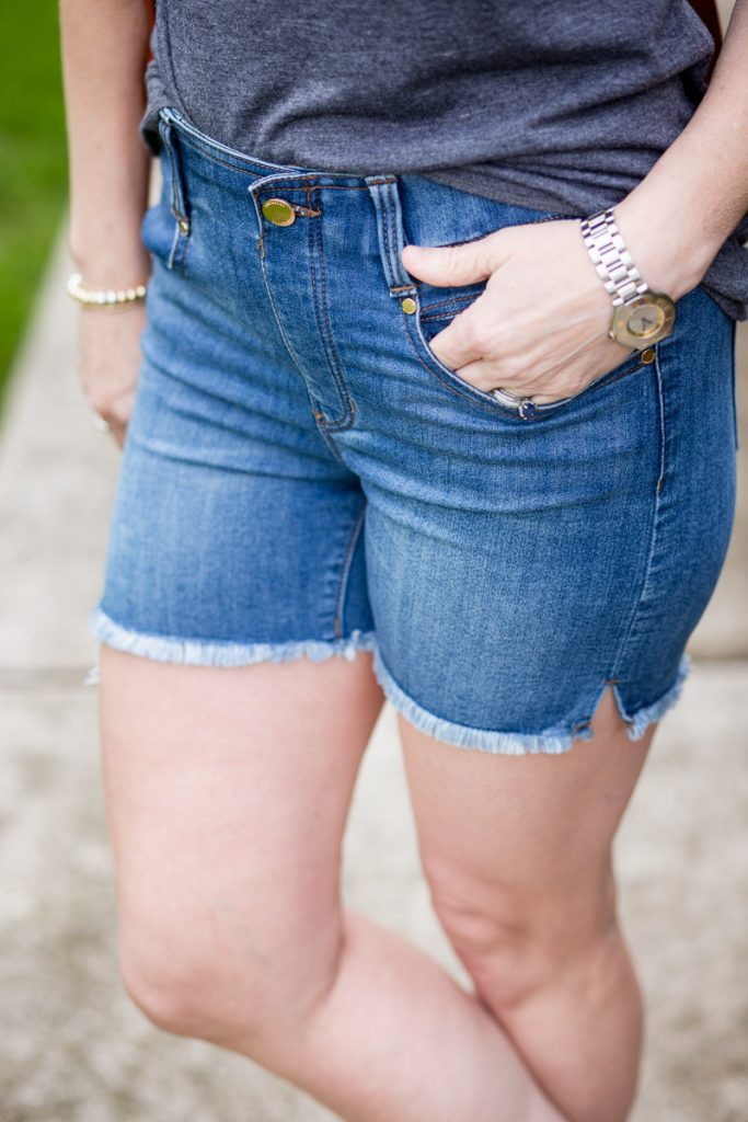 Gia Glider shorts with fray hem by Liverpool Los Angles