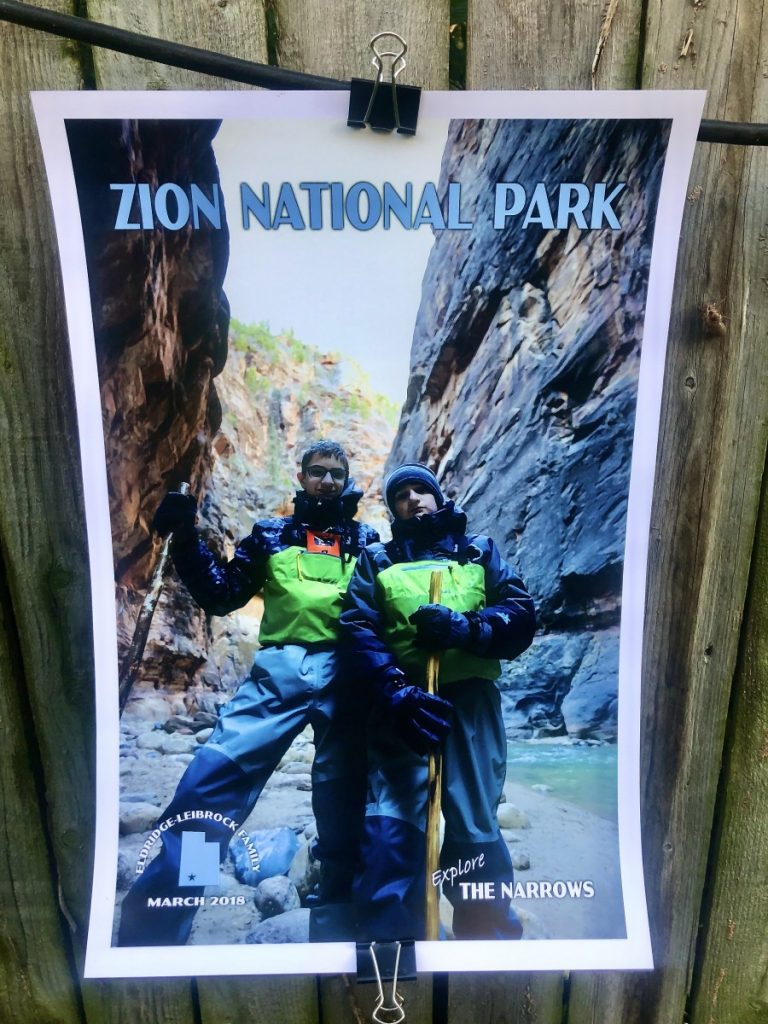 Zion National Park poster from Just Go Travel Studios