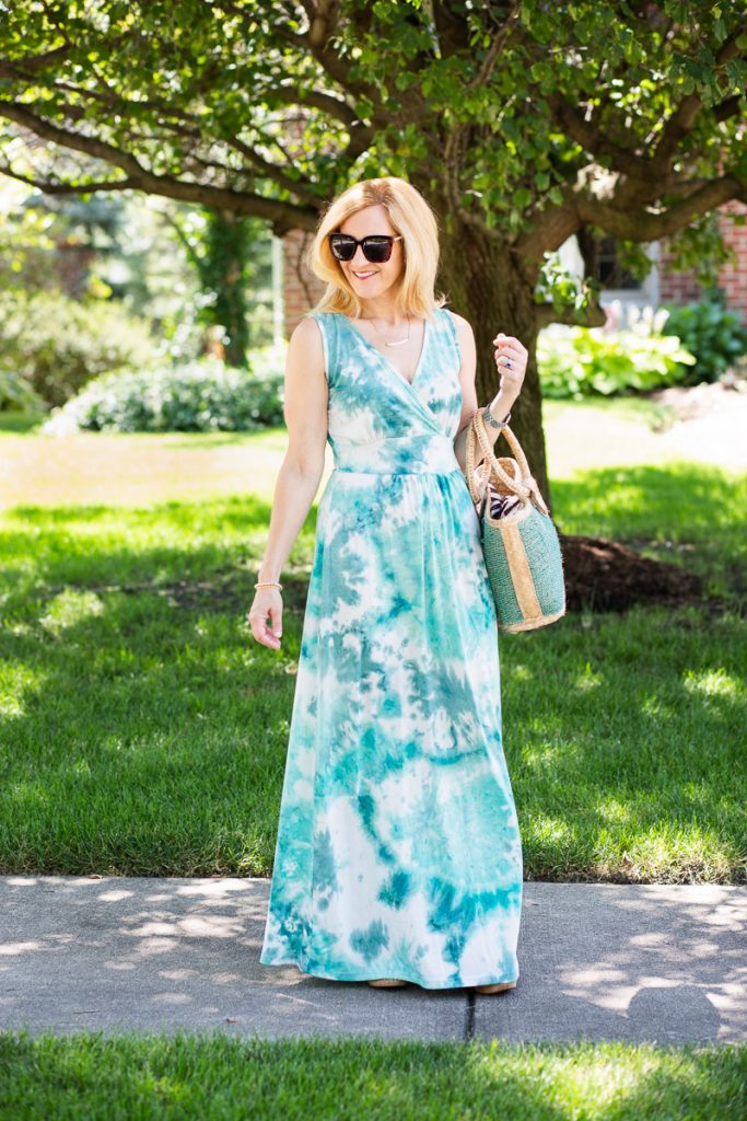 A blue and green tie dye maxi dress that is perfect for summer.