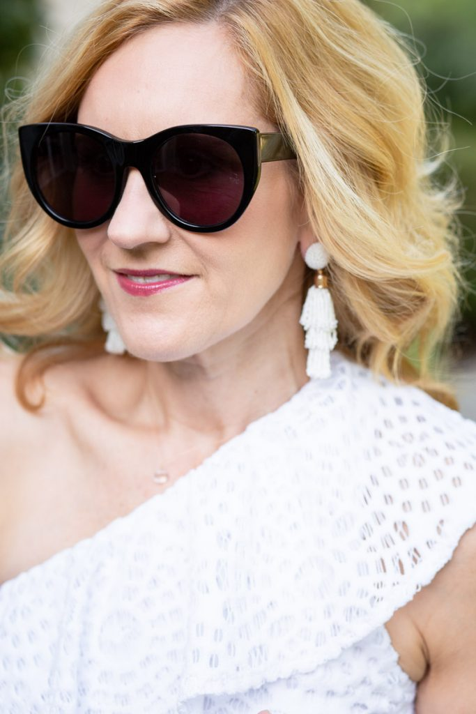 Wearing beaded tassel earrings by Panacea from the Box of Style.