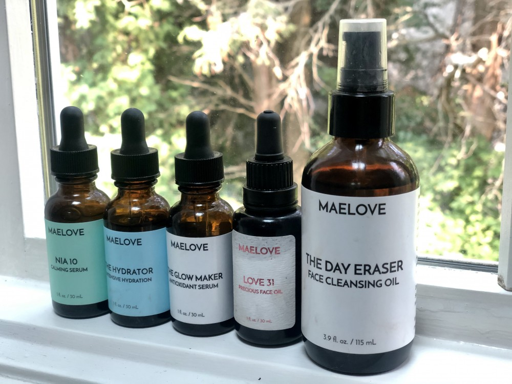 Maelove skincare featuring serums, facial oil, and face cleansing oil.