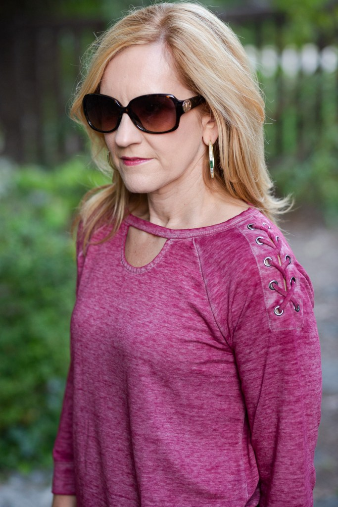 Lace Up Wine Athleisure Top by Cato Fashions