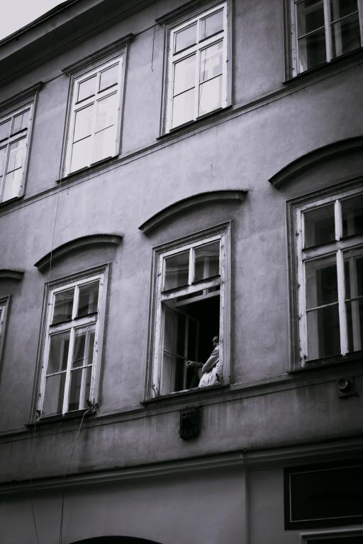 Person alone in window