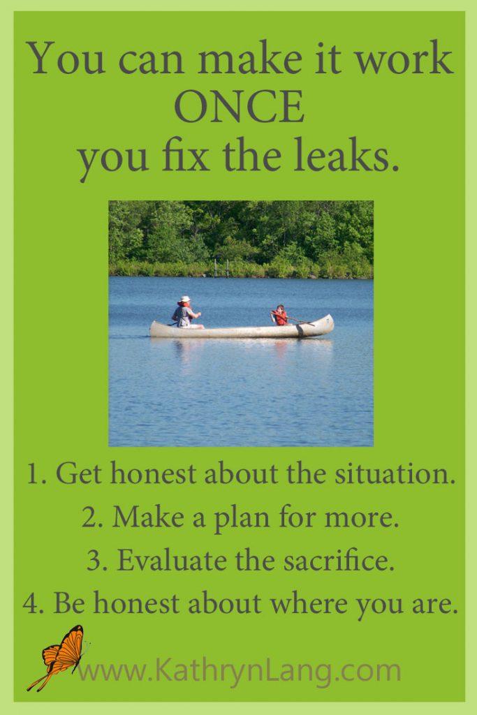 paddling a boat - fix the leak