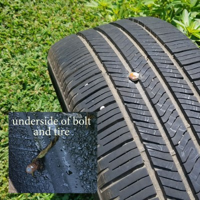 bolt in tire helps find hope