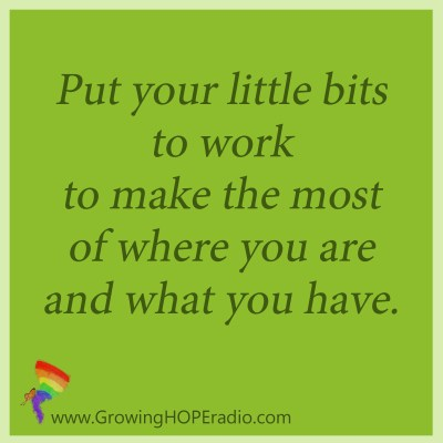 Growing HOPE Daily quote - put little bits to work