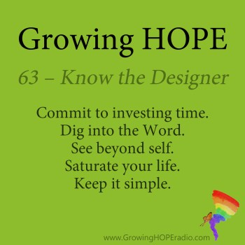 #GrowingHOPE daily - 5 points - 63 - know the designer