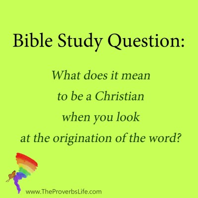 Bible Study Question - being a christian