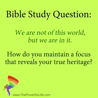 Bible Study Question - not of this world