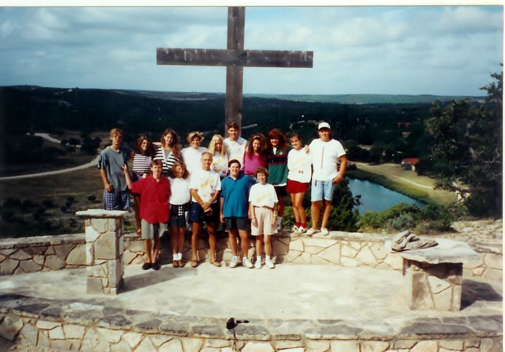 With my high school youth group at the cross - maybe even the morning I met God.