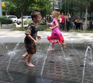Fun playing in the water at Klyde Warren Park!