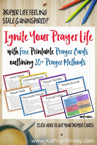 The essential prayer cards you need to ignite your prayer life. Learn how to pray, explore new methods for prayer, rejuvenate your prayer life by trying new prayer methods. Download the {FREE} prayer cards today!