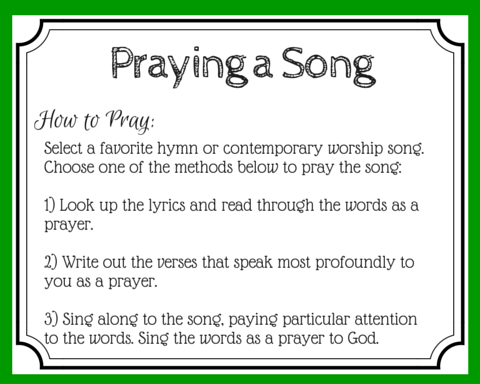 Sing to the Lord a new song! Music is a form of prayer. Just look at the beautiful songs (Psalms) in the Bible! Find new ways to use music as prayer. (+ free printable prayer cards)