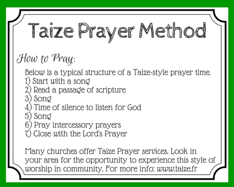 How to use the Taize prayer method to guide your soul toward silence and use music for meditative prayer. (+ free printable prayer cards)